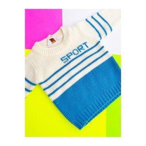 Vtg 70s Toddler Knit Jumper Sweater Sport Stripes